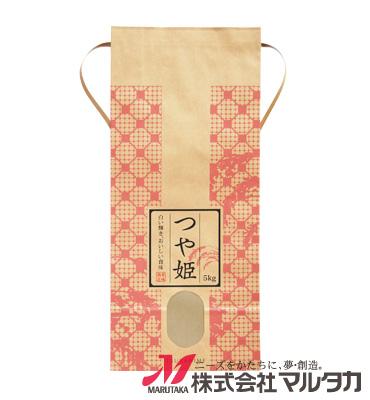 紐付クラフト米袋 KH-0018 つや姫 稲と格子(いねとこうし) 5kg