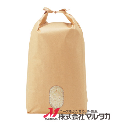 紐付クラフト米袋 無地 窓付 KH-0801 5kg