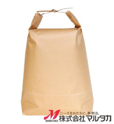 紐付クラフト米袋 無地 舟底 窓付 KH-0821 5kg