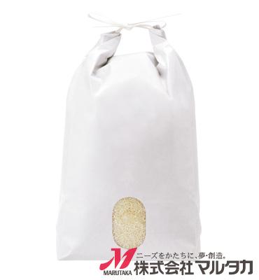 紐付白クラフト米袋 無地 窓付 KH-0850 5kg