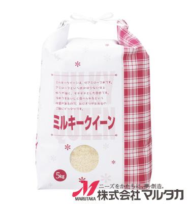 紐付白クラフト米袋 保湿タイプ KHP-501 ミルキークイーン フラワー 5kg