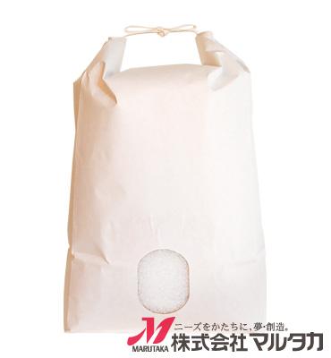 紐付白クラフト米袋 保湿タイプ 無地 窓付 KHP-840 5kg